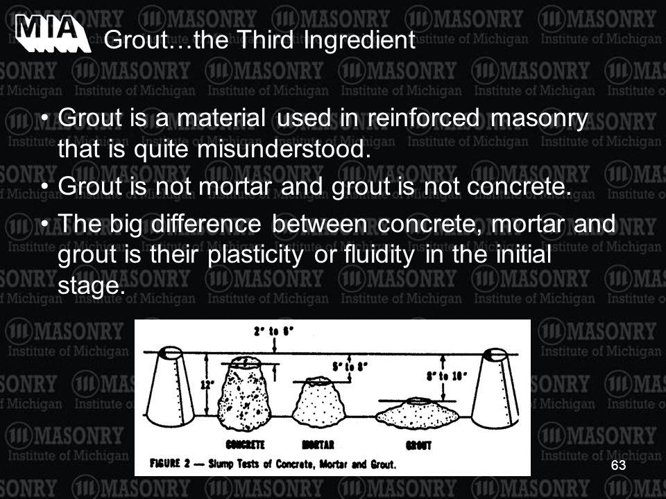 63 Grout is a material used in reinforced masonry that is quite misunderstood. Grout is not mortar and grout is not concrete. The big difference betwe