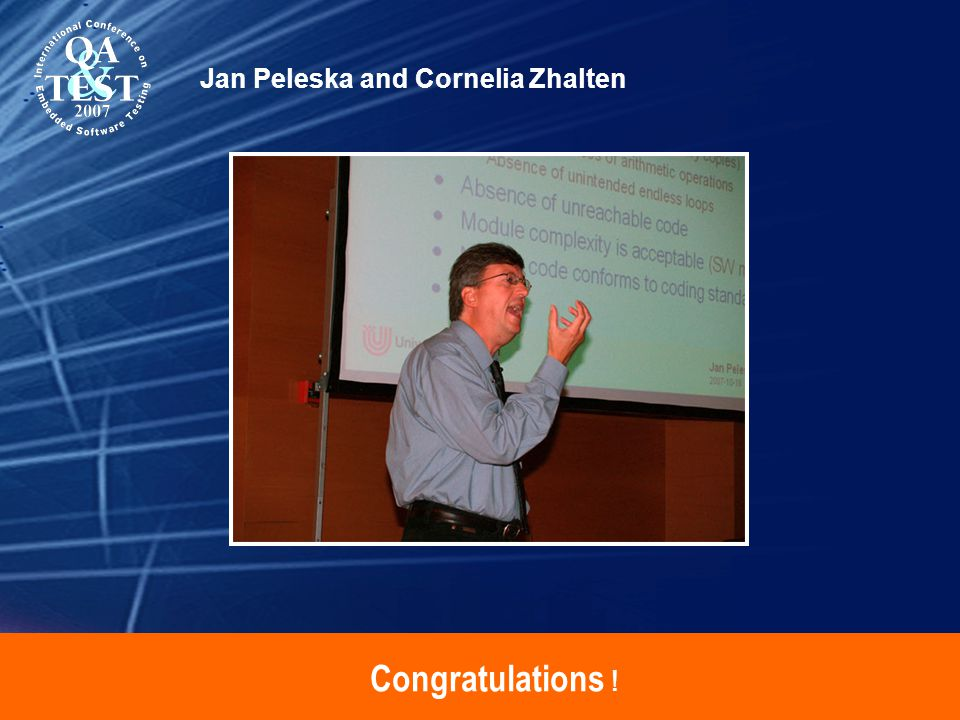 Congratulations ! Jan Peleska and Cornelia Zhalten