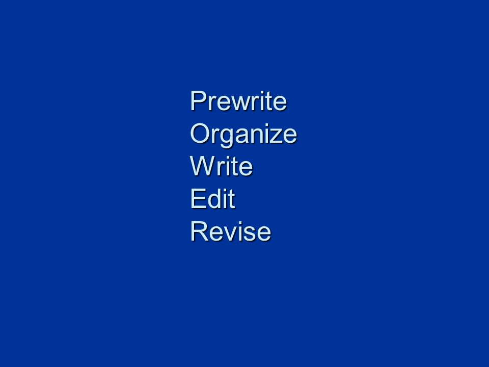 Prewrite Organize Write Edit Revise