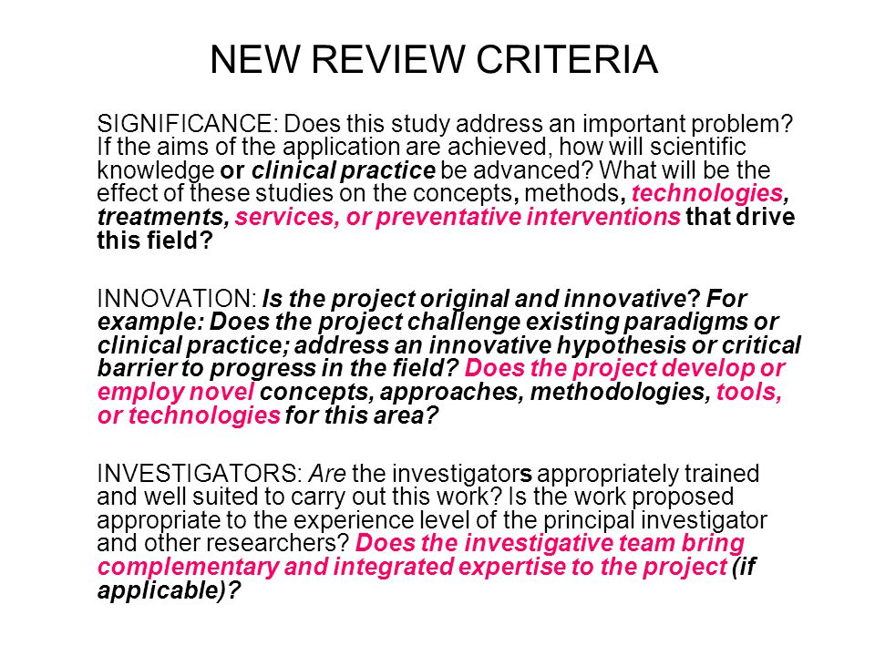 NEW REVIEW CRITERIA SIGNIFICANCE: Does this study address an important problem.