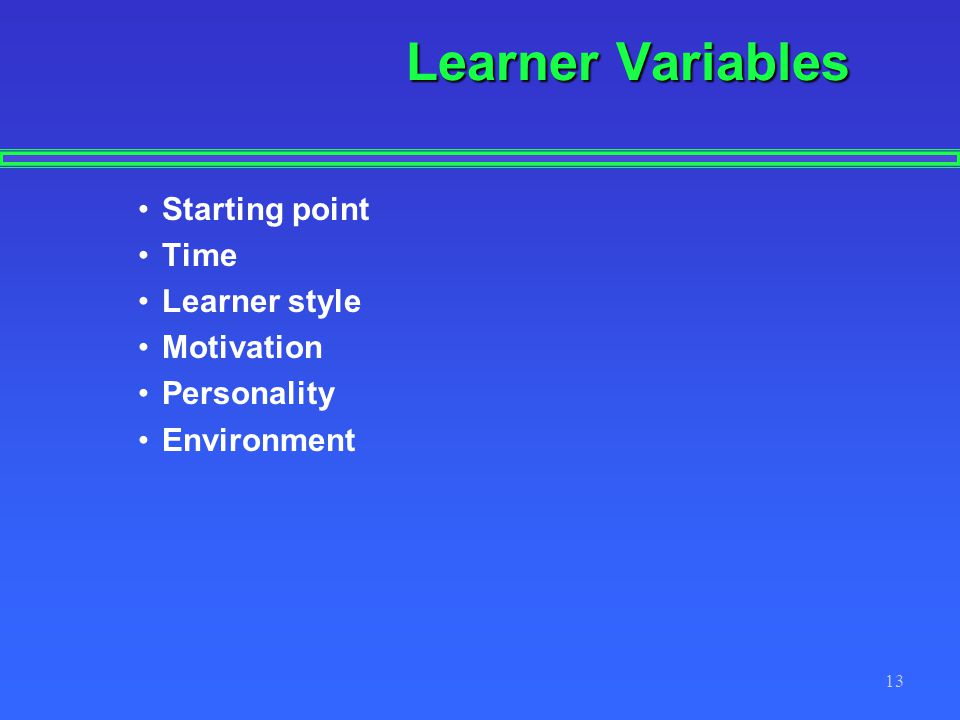 13 Learner Variables Starting point Time Learner style Motivation Personality Environment