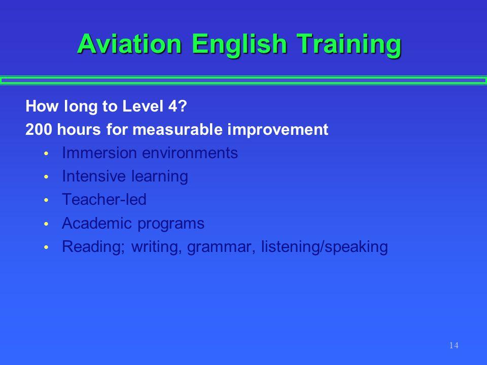 14 Aviation English Training How long to Level 4.