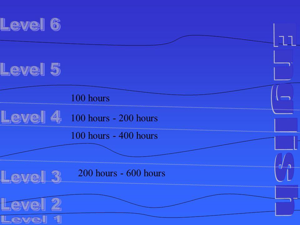 100 hours 100 hours - 200 hours 100 hours - 400 hours 200 hours - 600 hours