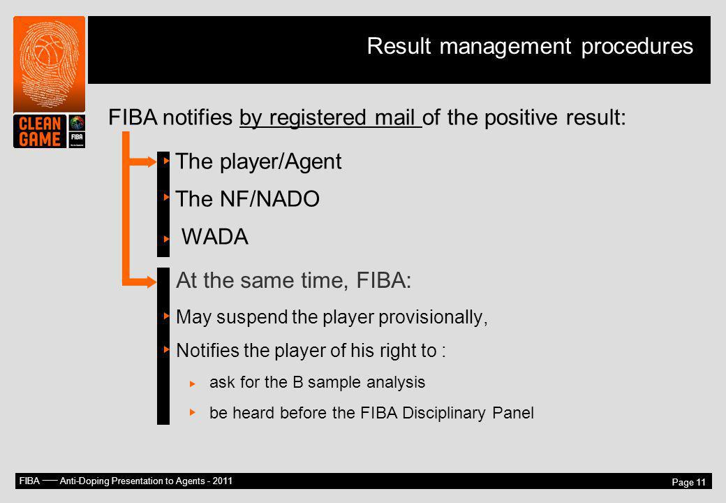 FIBA –– Anti-Doping Presentation to Agents - 2011 Page 11 FIBA notifies by registered mail of the positive result: The player/Agent The NF/NADO WADA A