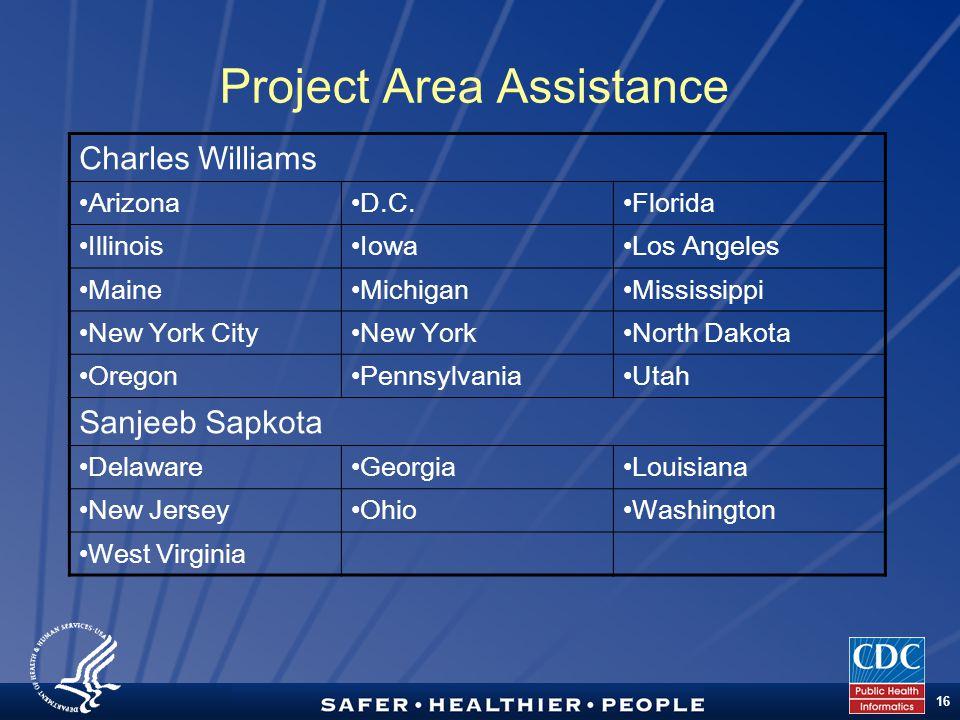 TM 16 Project Area Assistance Charles Williams ArizonaD.C.Florida IllinoisIowaLos Angeles MaineMichiganMississippi New York CityNew YorkNorth Dakota O