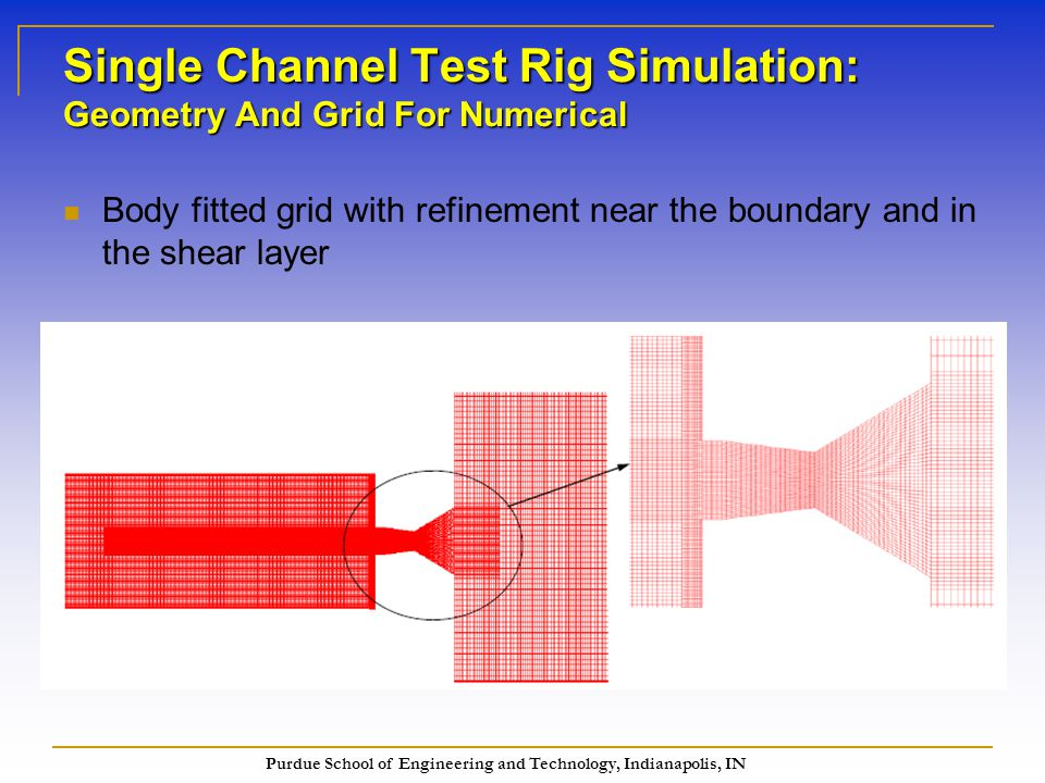 Purdue School of Engineering and Technology, Indianapolis, IN Body fitted grid with refinement near the boundary and in the shear layer Single Channel Test Rig Simulation: Geometry And Grid For Numerical