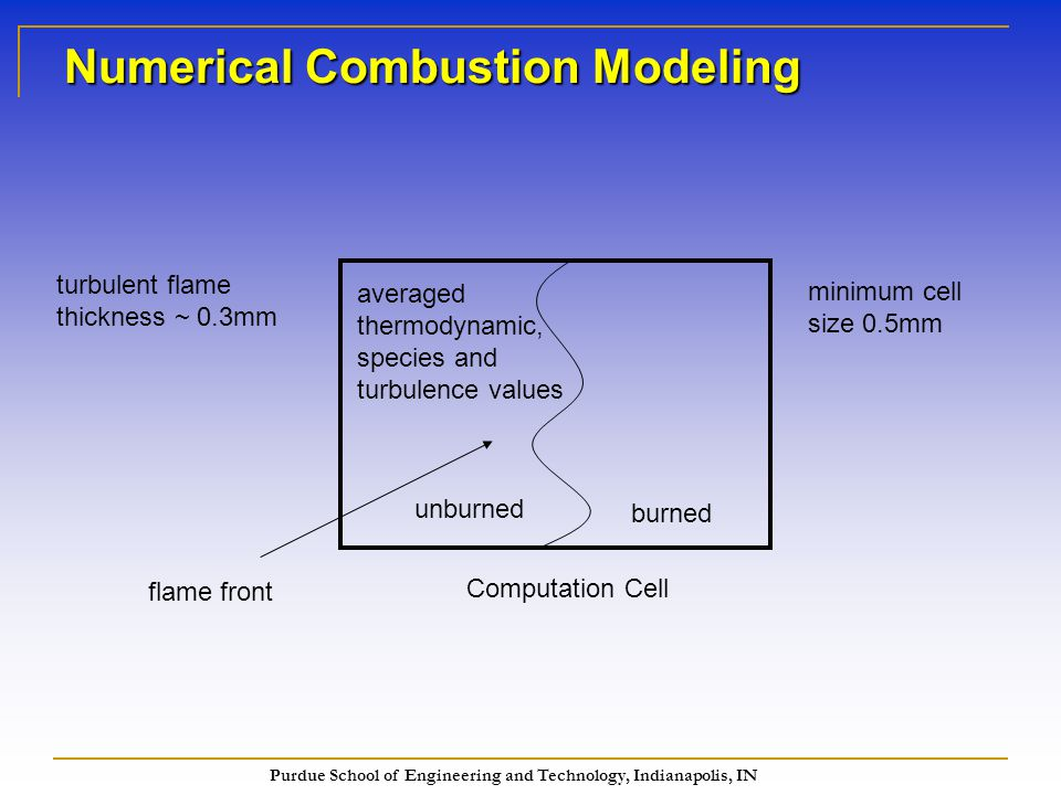 Purdue School of Engineering and Technology, Indianapolis, IN Numerical Combustion Modeling Computation Cell flame front averaged thermodynamic, species and turbulence values turbulent flame thickness ~ 0.3mm burned unburned minimum cell size 0.5mm