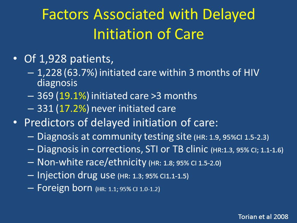 Factors Associated with Delayed Initiation of Care Of 1,928 patients, – 1,228 (63.7%) initiated care within 3 months of HIV diagnosis – 369 (19.1%) initiated care >3 months – 331 (17.2%) never initiated care Predictors of delayed initiation of care: – Diagnosis at community testing site (HR: 1.9, 95%CI 1.5-2.3) – Diagnosis in corrections, STI or TB clinic (HR:1.3, 95% CI; 1.1-1.6) – Non-white race/ethnicity (HR: 1.8; 95% CI 1.5-2.0) – Injection drug use (HR: 1.3; 95% CI1.1-1.5) – Foreign born (HR: 1.1; 95% CI 1.0-1.2) Torian et al 2008