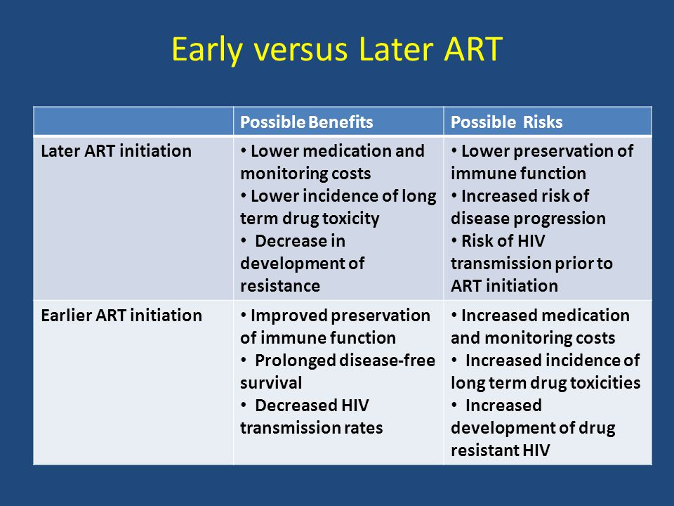 Early versus Later ART Possible BenefitsPossible Risks Later ART initiation Lower medication and monitoring costs Lower incidence of long term drug toxicity Decrease in development of resistance Lower preservation of immune function Increased risk of disease progression Risk of HIV transmission prior to ART initiation Earlier ART initiation Improved preservation of immune function Prolonged disease-free survival Decreased HIV transmission rates Increased medication and monitoring costs Increased incidence of long term drug toxicities Increased development of drug resistant HIV