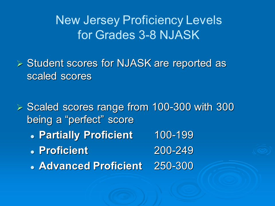 New Jersey Proficiency Levels for Grades 3-8 NJASK Student scores for NJASK are reported as scaled scores Student scores for NJASK are reported as scaled scores Scaled scores range from 100-300 with 300 being a perfect score Scaled scores range from 100-300 with 300 being a perfect score Partially Proficient100-199 Partially Proficient100-199 Proficient200-249 Proficient200-249 Advanced Proficient250-300 Advanced Proficient250-300