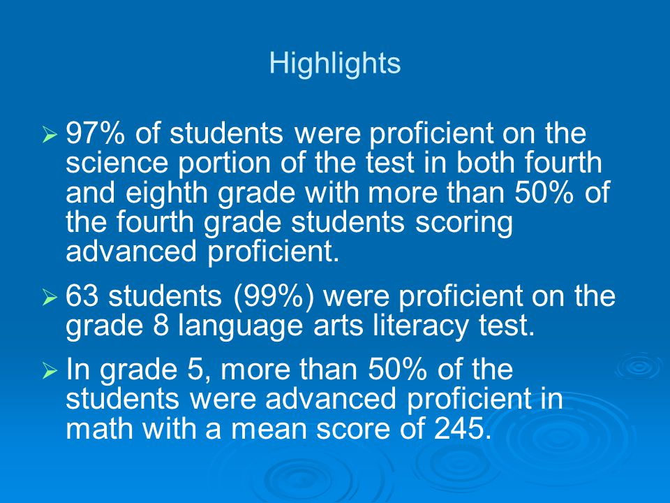 Highlights 97% of students were proficient on the science portion of the test in both fourth and eighth grade with more than 50% of the fourth grade students scoring advanced proficient.