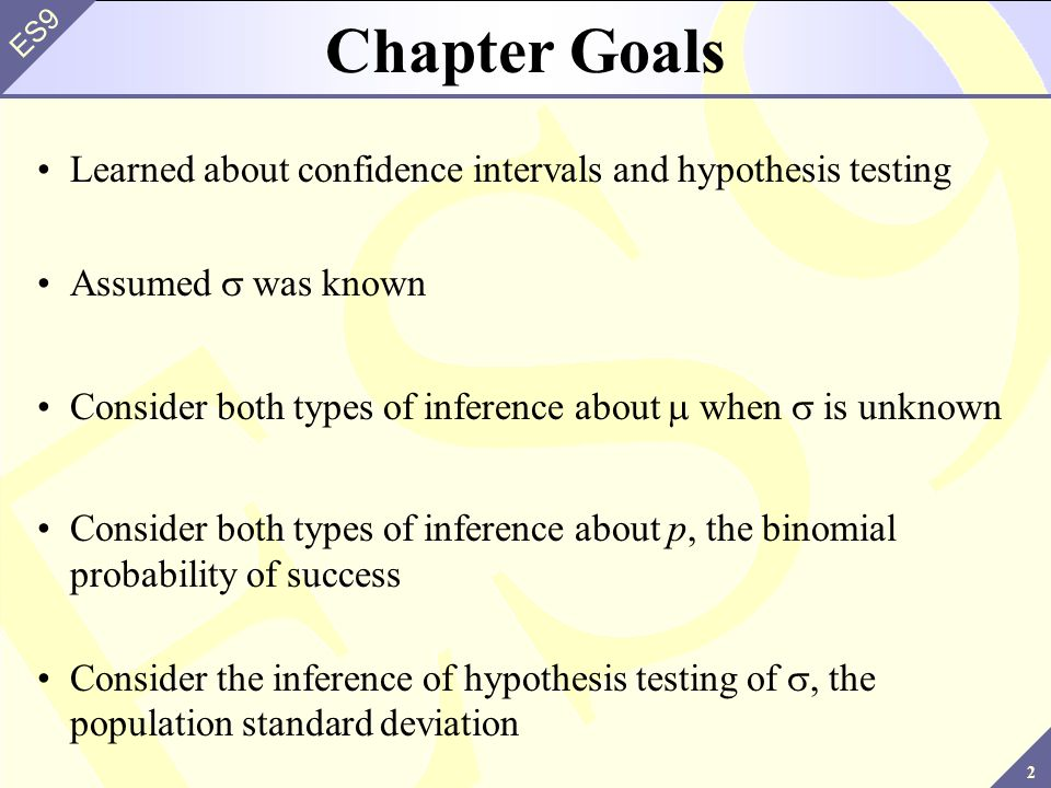 2 ES9 Chapter Goals Learned about confidence intervals and hypothesis testing Assumed was known Consider both types of inference about when is unknown Consider both types of inference about p, the binomial probability of success Consider the inference of hypothesis testing of, the population standard deviation