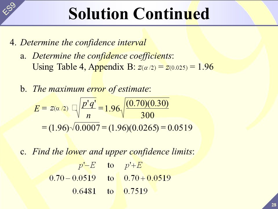 28 ES9 4.Determine the confidence interval a.Determine the confidence coefficients: Using Table 4, Appendix B: z ( /2) = z (0.025) = 1.96 Solution Continued c.Find the lower and upper confidence limits: 0519.0)0265.0)(96.1(0007.0)96.1( 300 )30.0)(70.0( 96.1 n qp E b.The maximum error of estimate: z ( /2)