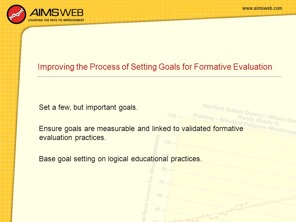Improving the Process of Setting Goals for Formative Evaluation Set a few, but important goals.