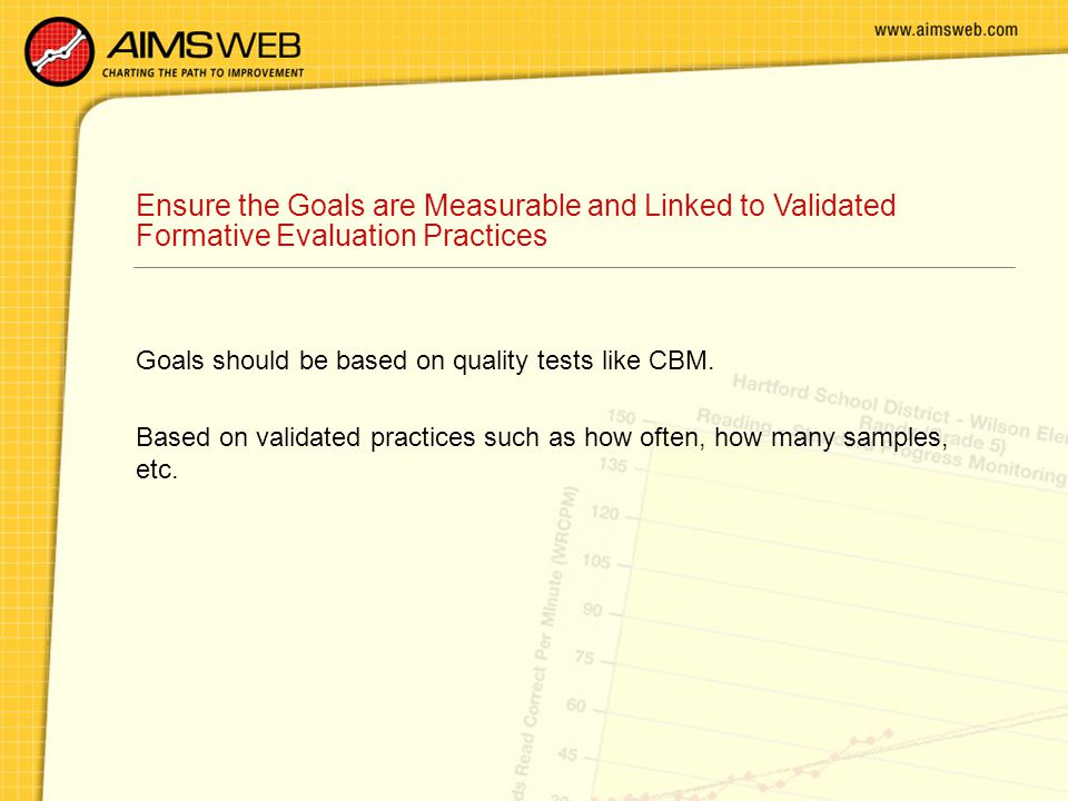 Ensure the Goals are Measurable and Linked to Validated Formative Evaluation Practices Goals should be based on quality tests like CBM.