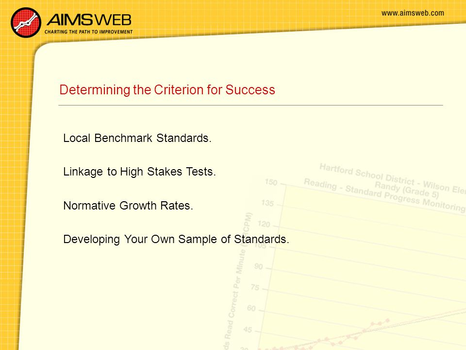 Determining the Criterion for Success Local Benchmark Standards.