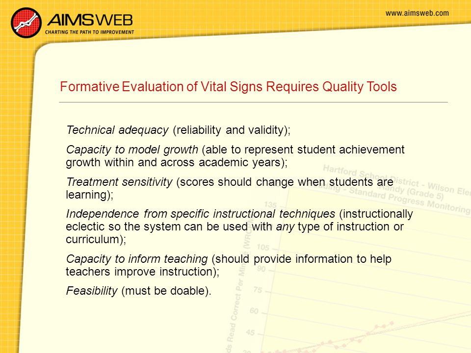 Formative Evaluation of Vital Signs Requires Quality Tools Technical adequacy (reliability and validity); Capacity to model growth (able to represent student achievement growth within and across academic years); Treatment sensitivity (scores should change when students are learning); Independence from specific instructional techniques (instructionally eclectic so the system can be used with any type of instruction or curriculum); Capacity to inform teaching (should provide information to help teachers improve instruction); Feasibility (must be doable).