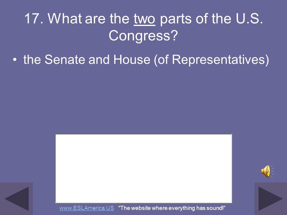 16. Who makes federal laws? Congress Senate and House (of Representatives) (U.S. or national) legislature www.ESLAmerica.USwww.ESLAmerica.US The websi