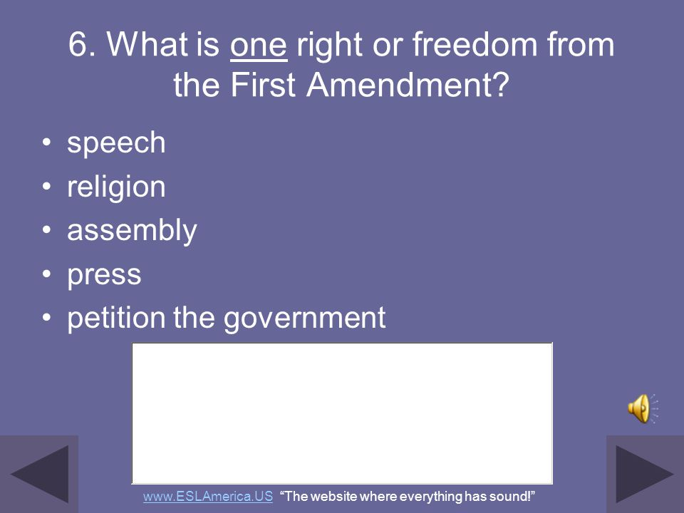 5. What do we call the first ten amendments to the Constitution? the Bill of Rights www.ESLAmerica.USwww.ESLAmerica.US The website where everything ha