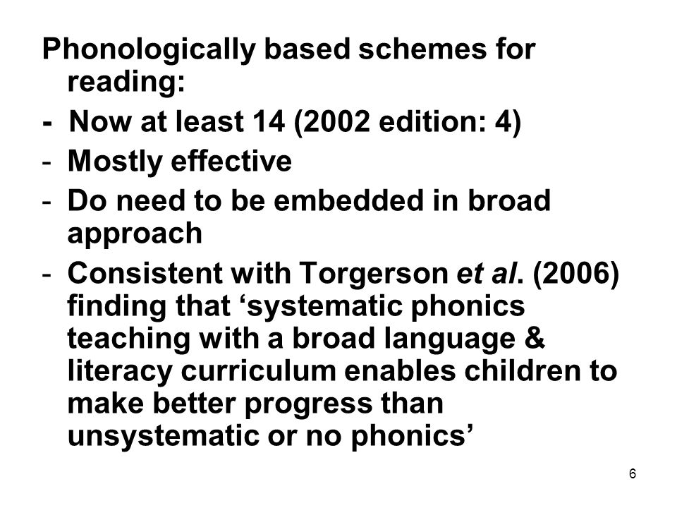 7 Comprehension: -Still very few schemes focusing directly on this -Inference Training, Reciprocal Teaching -But many schemes have evidence of effect on comprehension