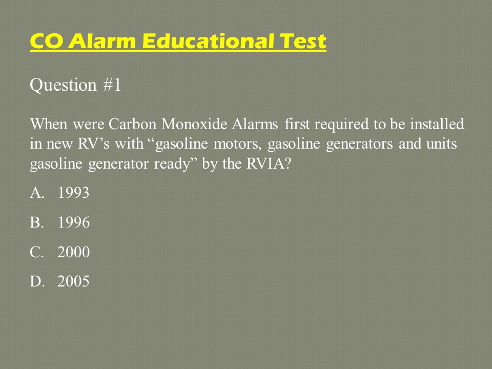 For more information, contact MTI Industries (800) 383-0269 info@mtiindustries.com CO Alarm Educational Test