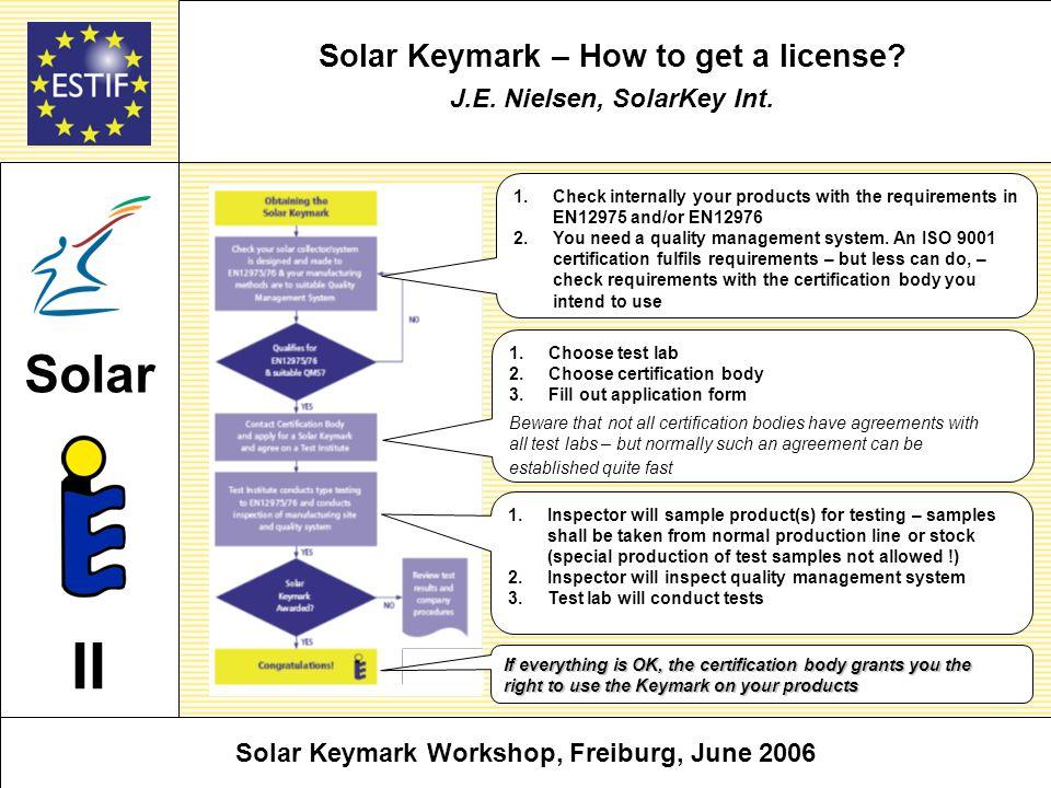 Solar Keymark – How to get a license. J.E. Nielsen, SolarKey Int.