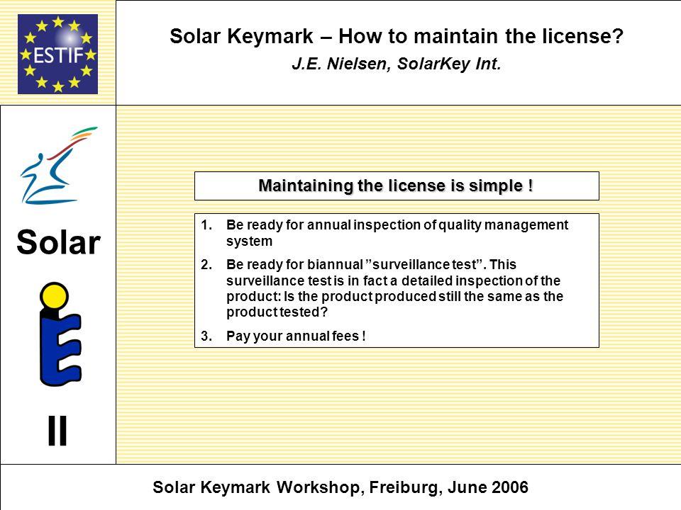 Solar Keymark – How to maintain the license. J.E.