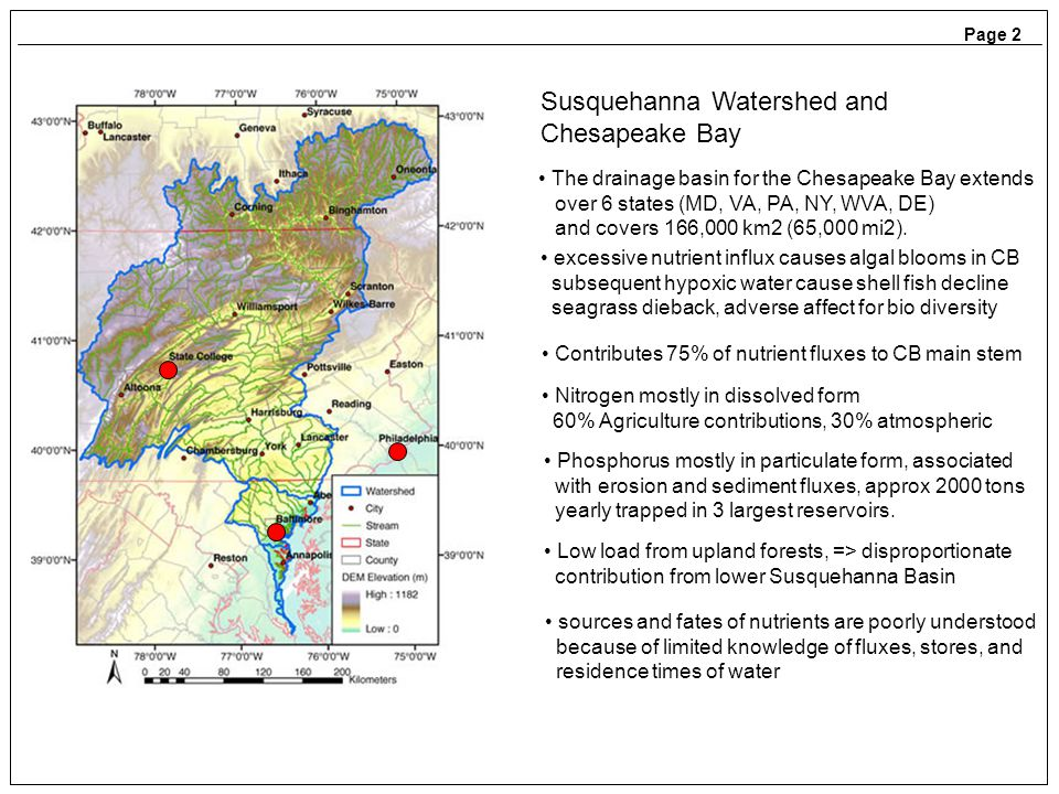 Page 2 Susquehanna Watershed and Chesapeake Bay Contributes 75% of nutrient fluxes to CB main stem Nitrogen mostly in dissolved form 60% Agriculture contributions, 30% atmospheric Phosphorus mostly in particulate form, associated with erosion and sediment fluxes, approx 2000 tons yearly trapped in 3 largest reservoirs.