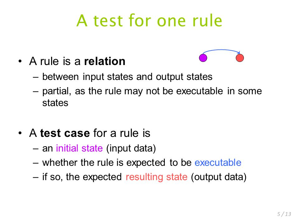 5 / 13 A test for one rule A rule is a relation –between input states and output states –partial, as the rule may not be executable in some states A test case for a rule is –an initial state (input data) –whether the rule is expected to be executable –if so, the expected resulting state (output data)