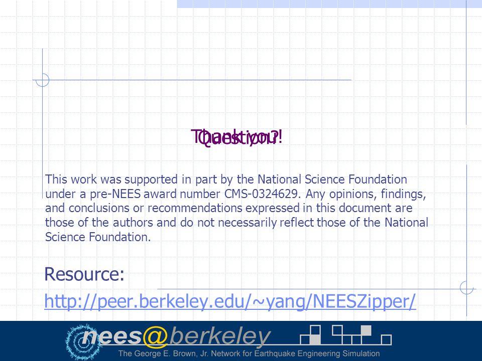 Question. Resource: http://peer.berkeley.edu/~yang/NEESZipper/ Thank you.