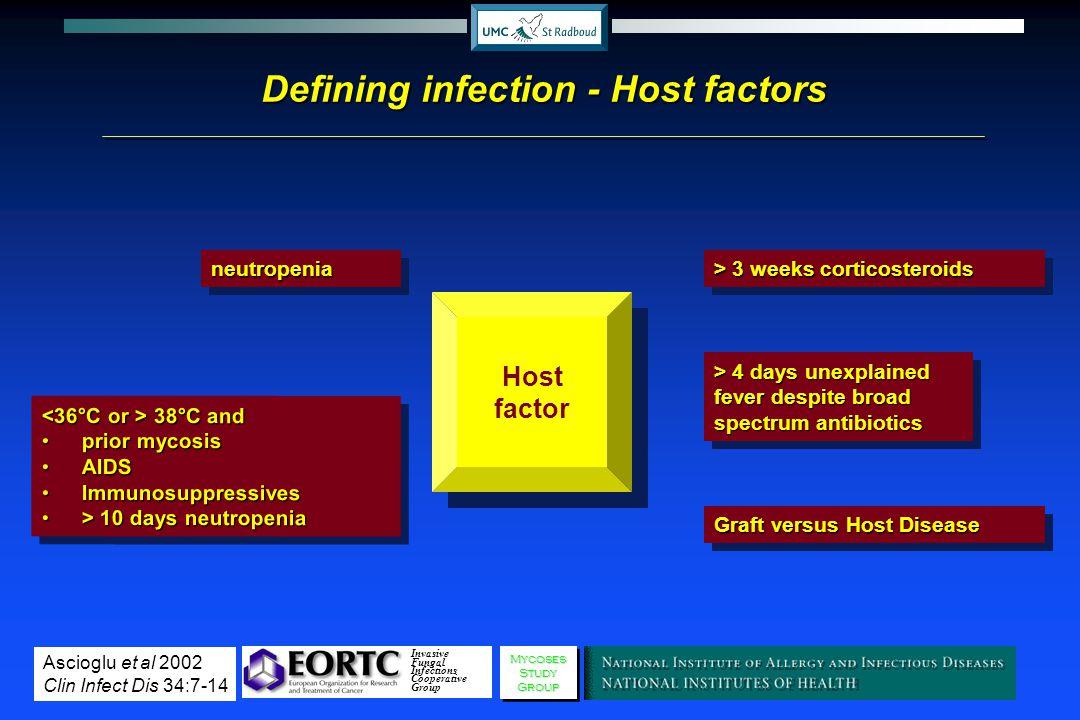Defining infection - Host factors Host factor neutropenianeutropenia > 4 days unexplained fever despite broad spectrum antibiotics Graft versus Host D