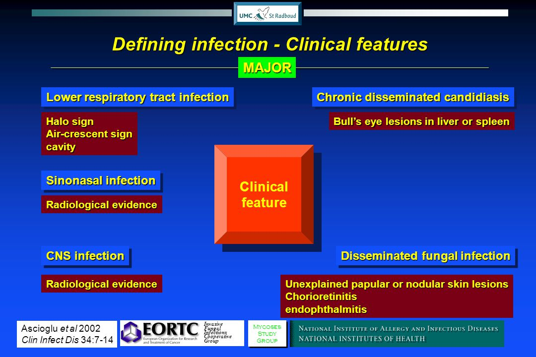 Defining infection - Clinical features Clinical feature Invasive Fungal Infections Cooperative GroupMycosesStudyGroupMycosesStudyGroup Halo sign Air-c