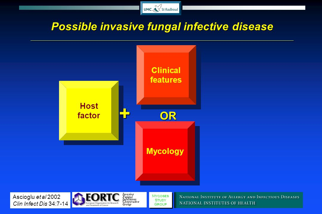 Possible invasive fungal infective disease Host factor Clinical features+ MycologyOR Invasive Fungal Infections Cooperative GroupMycosesStudyGroupMyco