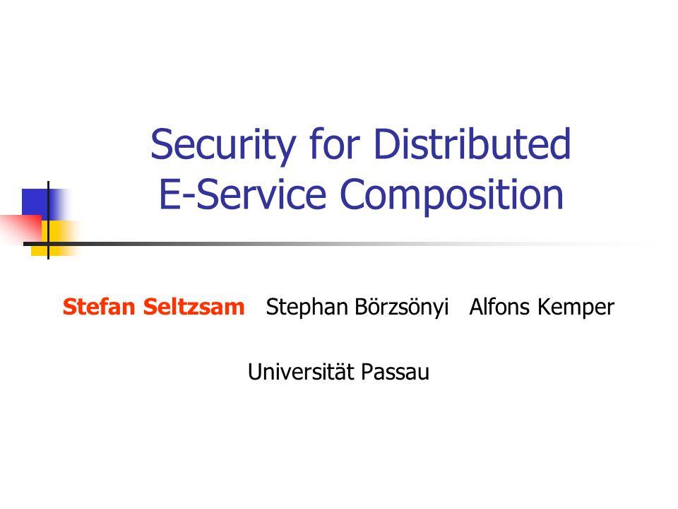 Security for Distributed E-Service Composition Stefan SeltzsamStephan BörzsönyiAlfons Kemper Universität Passau