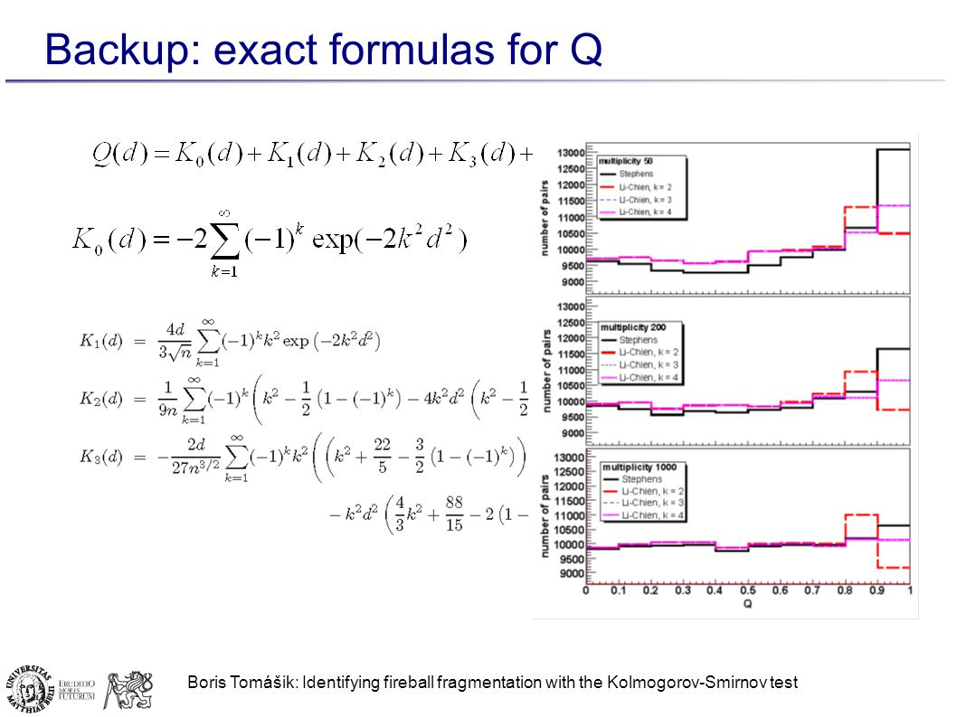 Boris Tomášik: Identifying fireball fragmentation with the Kolmogorov-Smirnov test Backup: exact formulas for Q