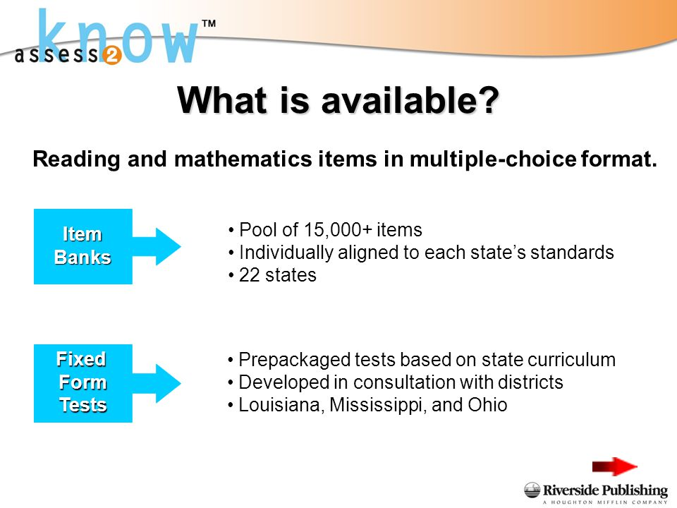 What is available? Reading and mathematics items in multiple-choice format. Item Banks Pool of 15,000+ items Individually aligned to each states stand
