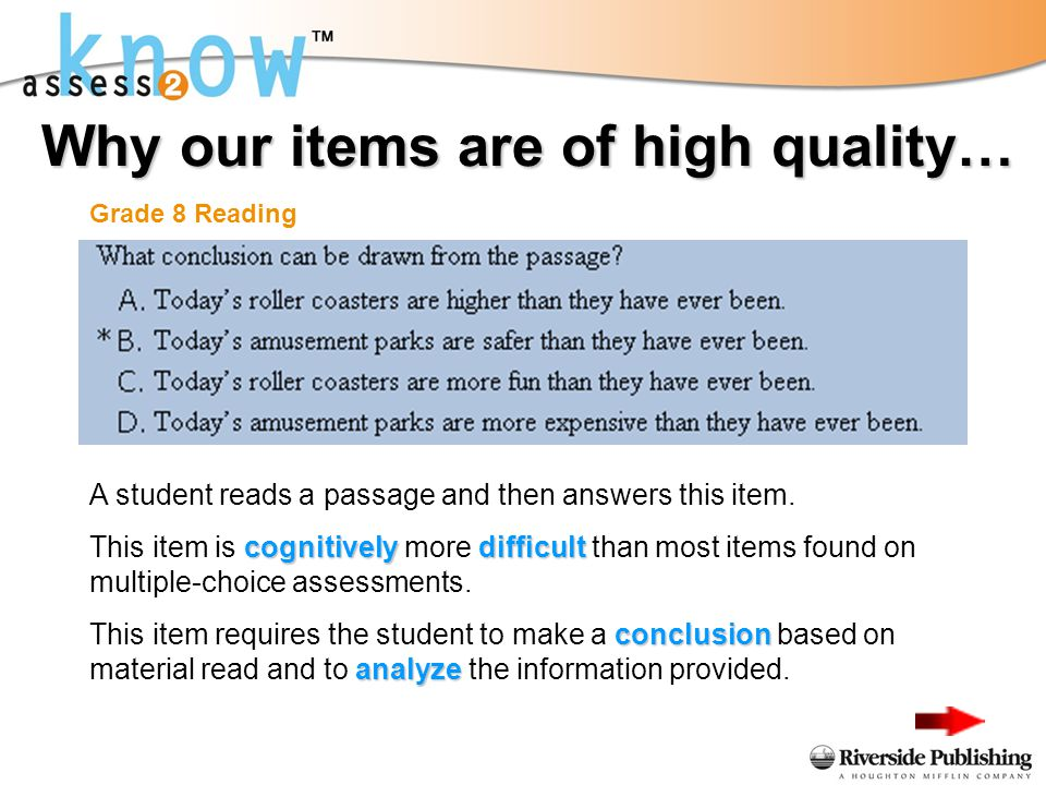 Why our items are of high quality… Grade 8 Reading A student reads a passage and then answers this item.