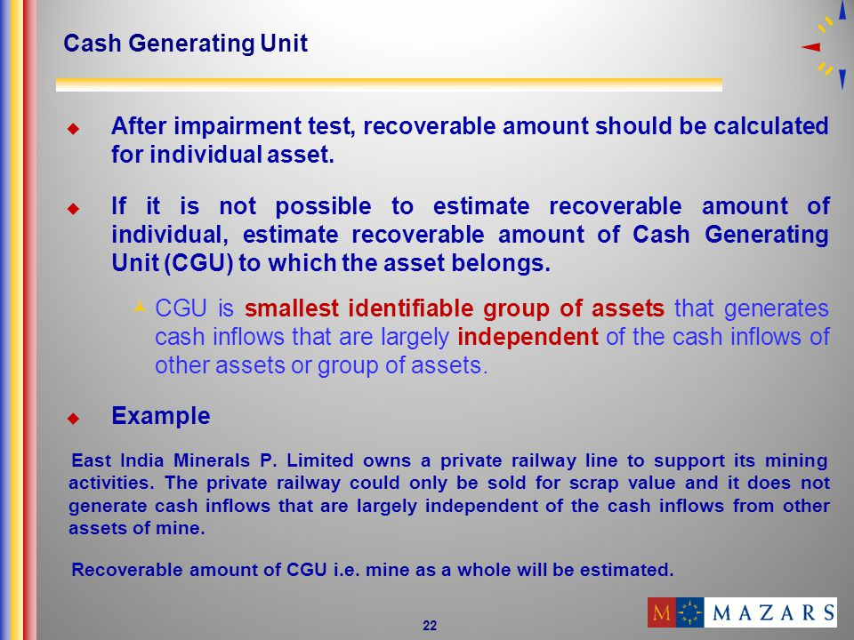 22 Cash Generating Unit After impairment test, recoverable amount should be calculated for individual asset.