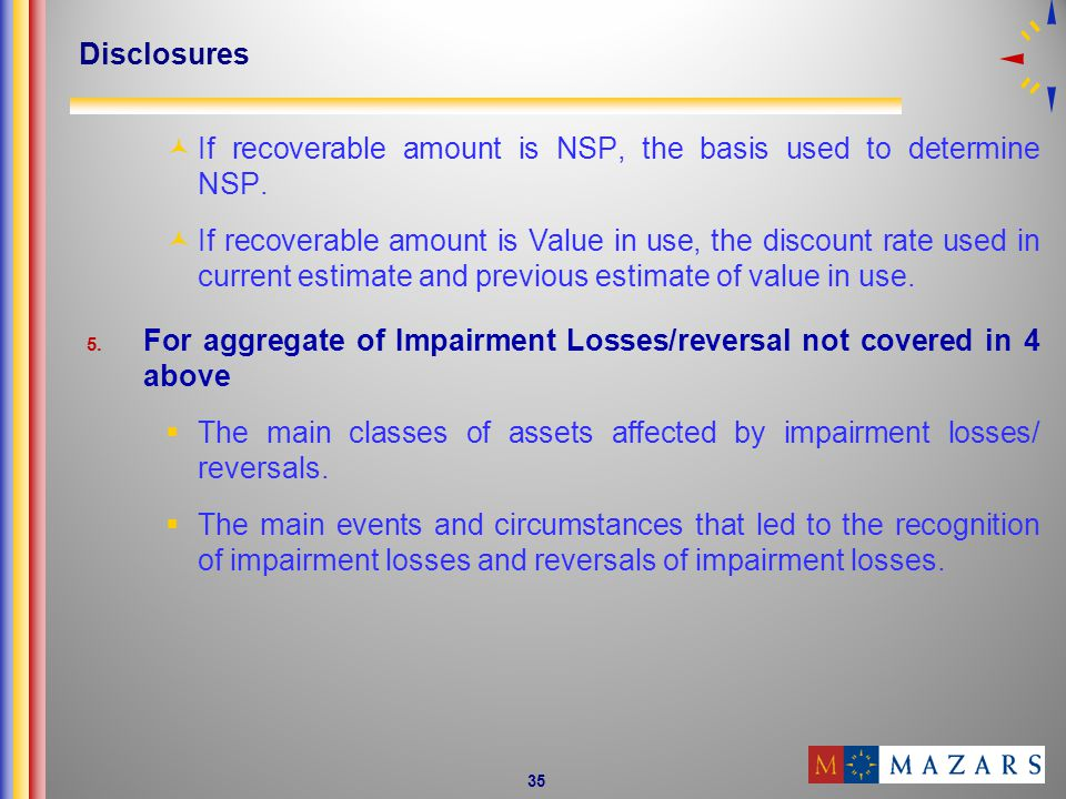 35 Disclosures If recoverable amount is NSP, the basis used to determine NSP.