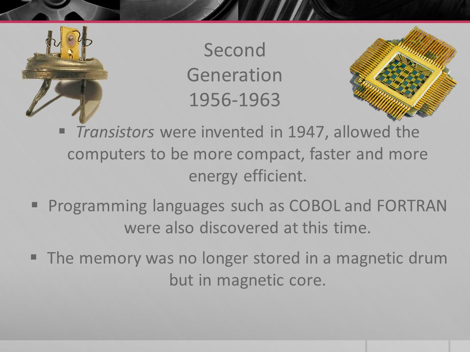 First Generation 1940-1956 First computer invented was the ENIAC in 1946, it mostly served its purpose for the US ARMY. UNIVAC came shortly after, in1