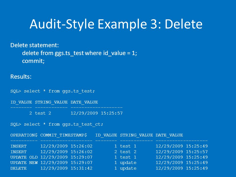 Audit-Style Example 3: Delete Delete statement: delete from ggs.ts_test where id_value = 1; commit; Results: SQL> select * from ggs.ts_test; ID_VALUE STRING_VALUE DATE_VALUE -------- ------------ ------------------- 2 test 2 12/29/2009 15:25:57 SQL> select * from ggs.ts_test_ct; OPERATION$ COMMIT_TIMESTAMP$ ID_VALUE STRING_VALUE DATE_VALUE ---------- ------------------- -------- ------------ ------------------- INSERT 12/29/2009 15:26:02 1 test 1 12/29/2009 15:25:49 INSERT 12/29/2009 15:26:02 2 test 2 12/29/2009 15:25:57 UPDATE OLD 12/29/2009 15:29:07 1 test 1 12/29/2009 15:25:49 UPDATE NEW 12/29/2009 15:29:07 1 update 12/29/2009 15:25:49 DELETE 12/29/2009 15:31:42 1 update 12/29/2009 15:25:49