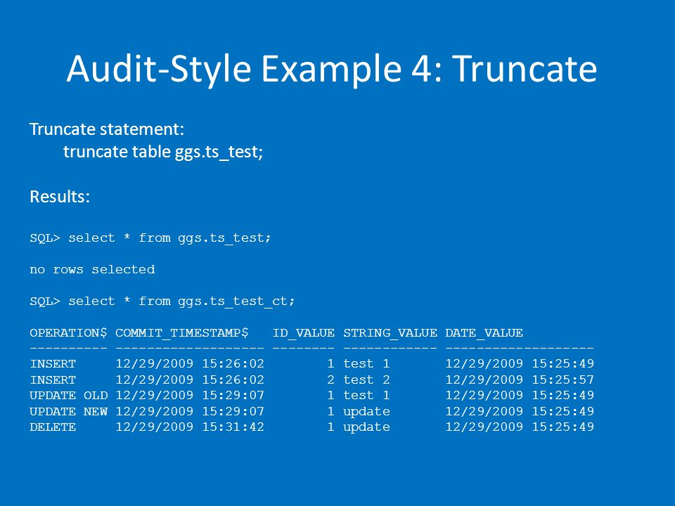Audit-Style Example 4: Truncate Truncate statement: truncate table ggs.ts_test; Results: SQL> select * from ggs.ts_test; no rows selected SQL> select * from ggs.ts_test_ct; OPERATION$ COMMIT_TIMESTAMP$ ID_VALUE STRING_VALUE DATE_VALUE ---------- ------------------- -------- ------------ ------------------- INSERT 12/29/2009 15:26:02 1 test 1 12/29/2009 15:25:49 INSERT 12/29/2009 15:26:02 2 test 2 12/29/2009 15:25:57 UPDATE OLD 12/29/2009 15:29:07 1 test 1 12/29/2009 15:25:49 UPDATE NEW 12/29/2009 15:29:07 1 update 12/29/2009 15:25:49 DELETE 12/29/2009 15:31:42 1 update 12/29/2009 15:25:49