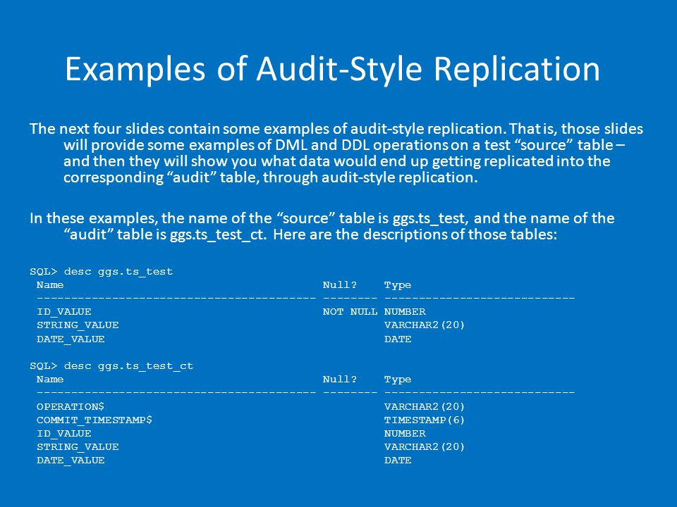 Examples of Audit-Style Replication The next four slides contain some examples of audit-style replication.