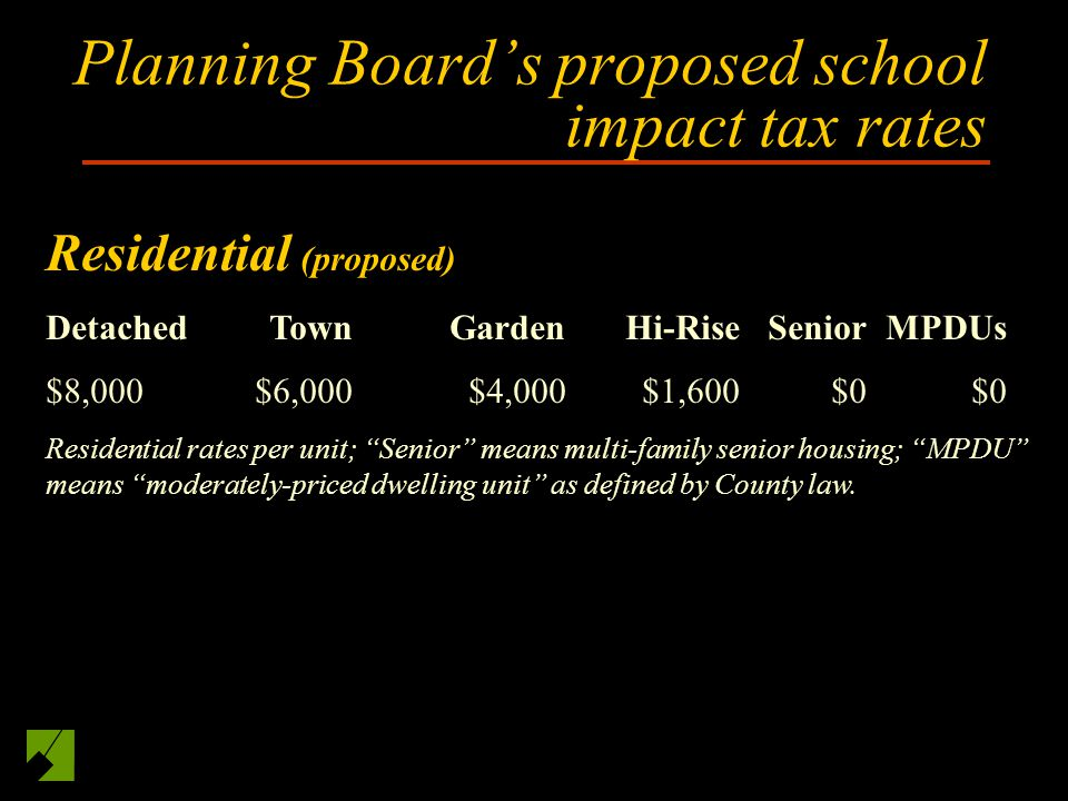 Planning Boards proposed school impact tax rates Residential (proposed) DetachedTownGardenHi-RiseSeniorMPDUs $8,000$6,000$4,000$1,600$0$0 Residential rates per unit; Senior means multi-family senior housing; MPDU means moderately-priced dwelling unit as defined by County law.