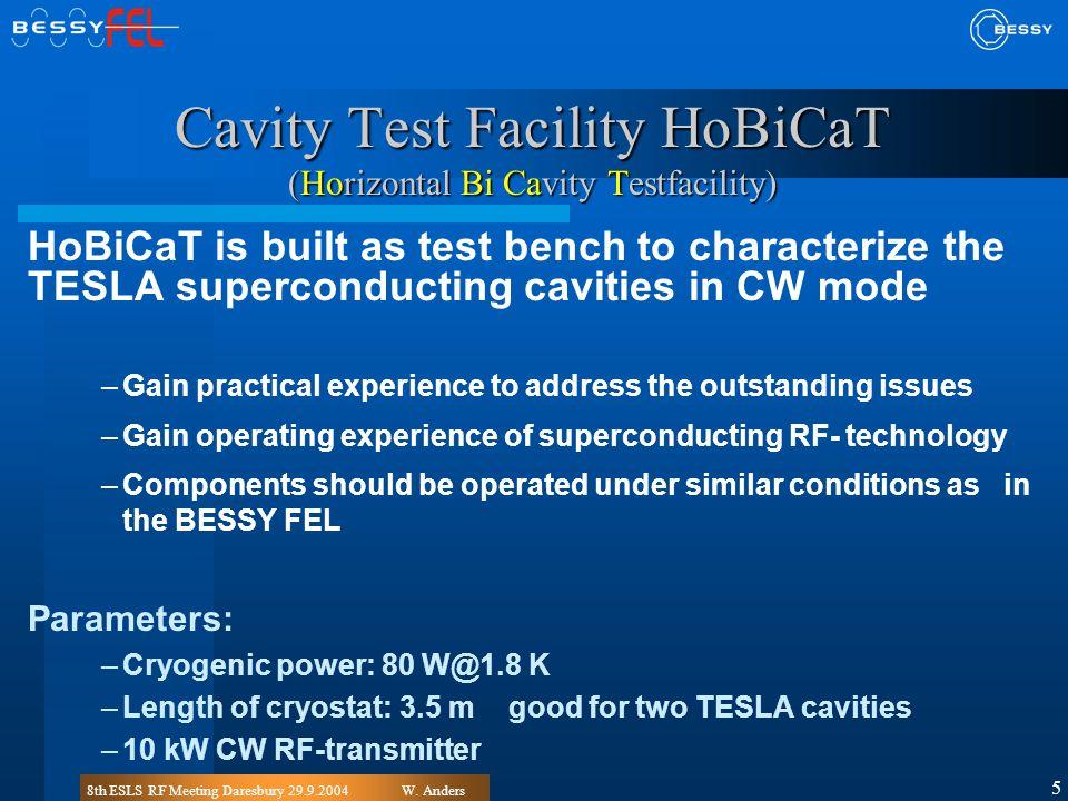 8th ESLS RF Meeting Daresbury 29.9.2004W. Anders 5 Cavity Test Facility HoBiCaT (Horizontal Bi Cavity Testfacility) HoBiCaT is built as test bench to