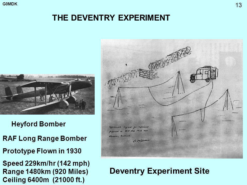 G0MDK 13 THE DEVENTRY EXPERIMENT Heyford Bomber Deventry Experiment Site RAF Long Range Bomber Prototype Flown in 1930 Speed 229km/hr (142 mph) Range