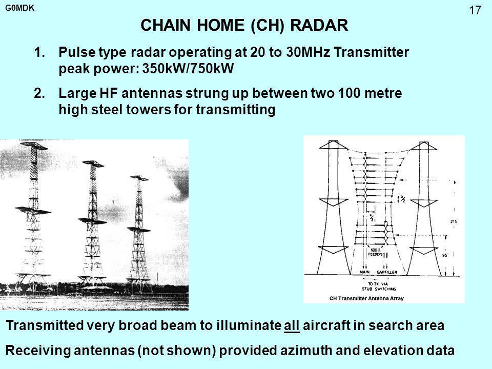 G0MDK 17 CHAIN HOME (CH) RADAR 1.Pulse type radar operating at 20 to 30MHz Transmitter peak power: 350kW/750kW 2.Large HF antennas strung up between t