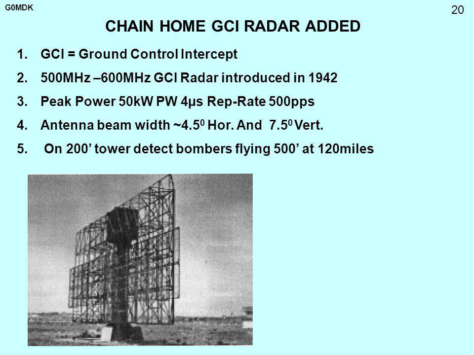 G0MDK 20 CHAIN HOME GCI RADAR ADDED 1.GCI = Ground Control Intercept 2.500MHz –600MHz GCI Radar introduced in 1942 3.Peak Power 50kW PW 4µs Rep-Rate 5
