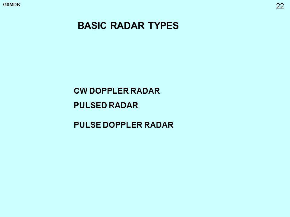 G0MDK 22 BASIC RADAR TYPES CW DOPPLER RADAR PULSED RADAR PULSE DOPPLER RADAR