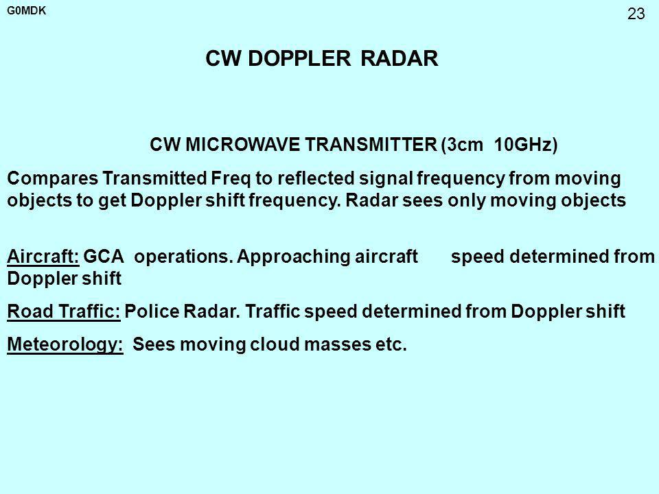 G0MDK 23 CW DOPPLER RADAR CW MICROWAVE TRANSMITTER (3cm 10GHz) Compares Transmitted Freq to reflected signal frequency from moving objects to get Dopp